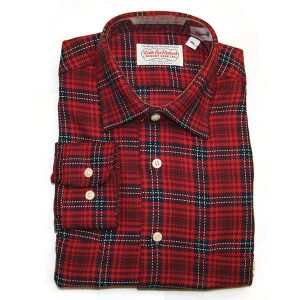 Red-Navy Plaid Flannel Shirt