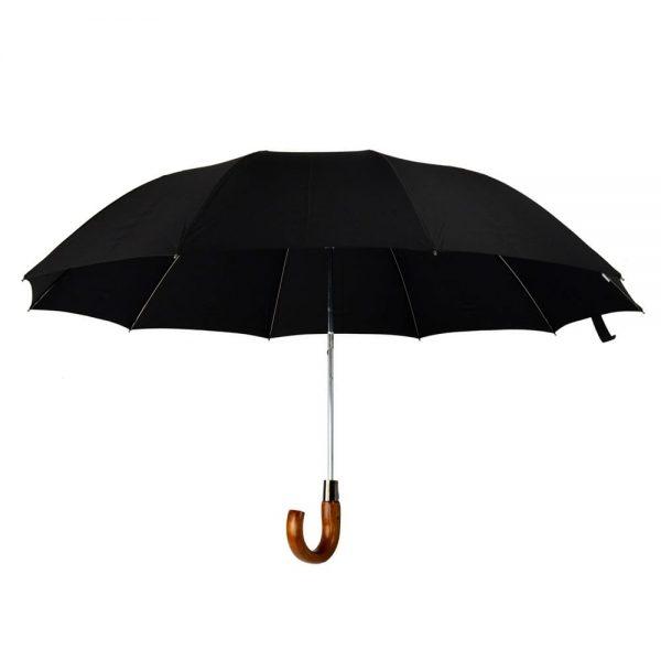 Telescopic Maple Crook Umbrella Brown