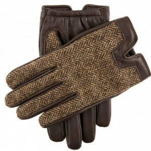 Cashmere Lined Hairsheep Leather Gloves Herringbone