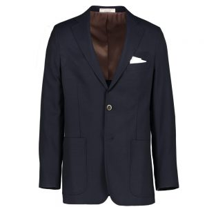 Modern Fit Navy Hopsack Rada Super 110's Wool Blazer