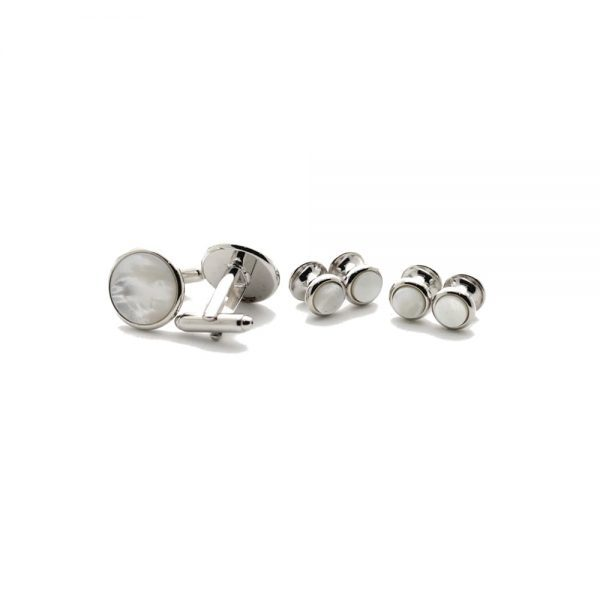 Collar Company Mother Pearl Formal Set Silver