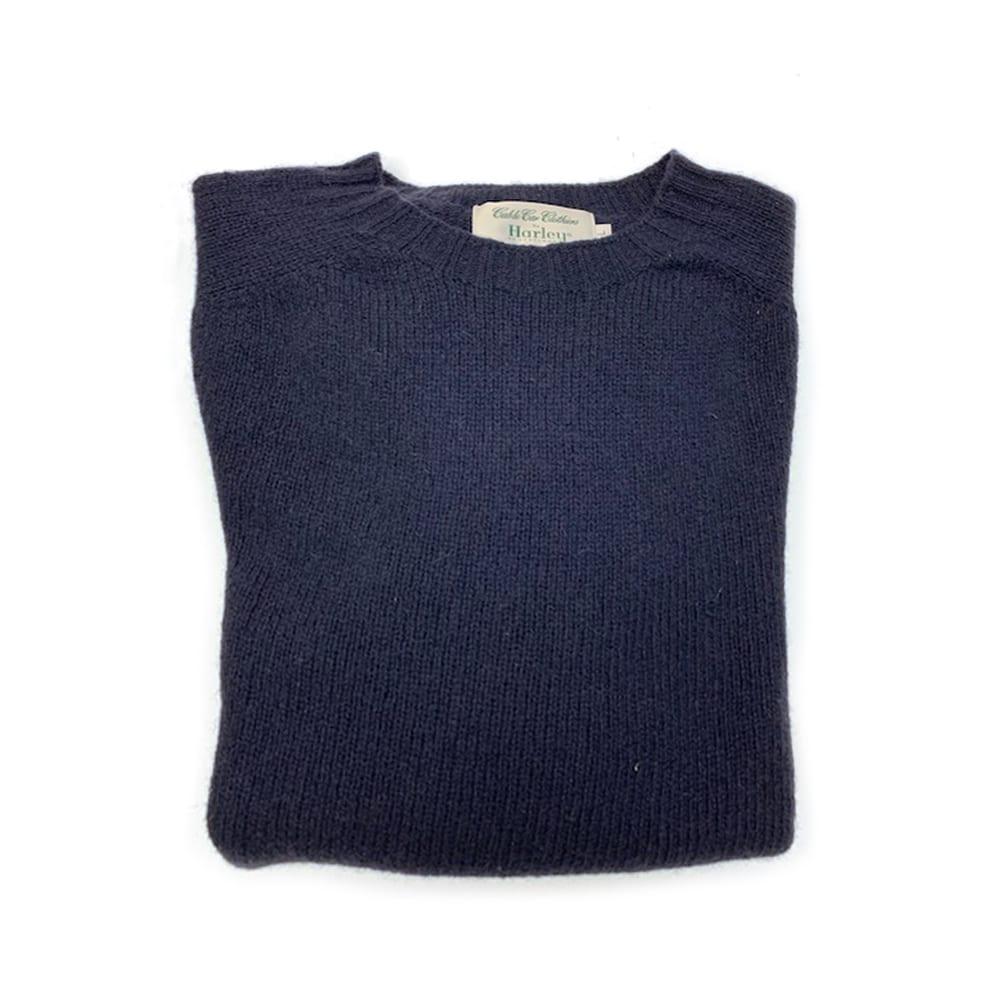 Harley of Scotland Shetland Sweater - New Navy