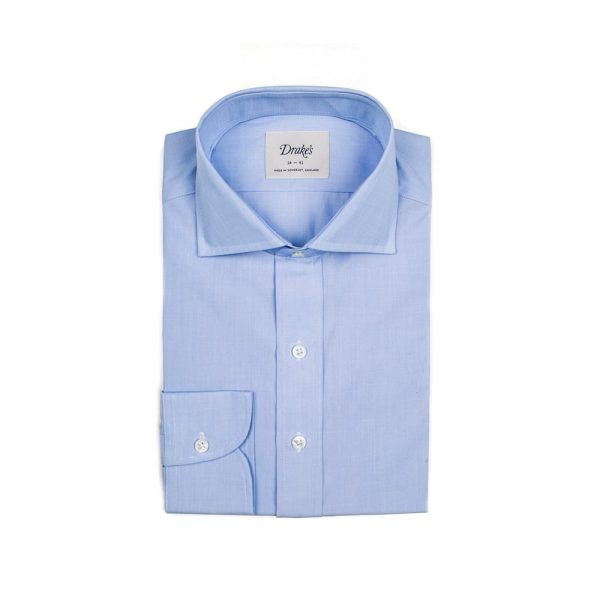 Drakes Blue Wide Spread Shirt