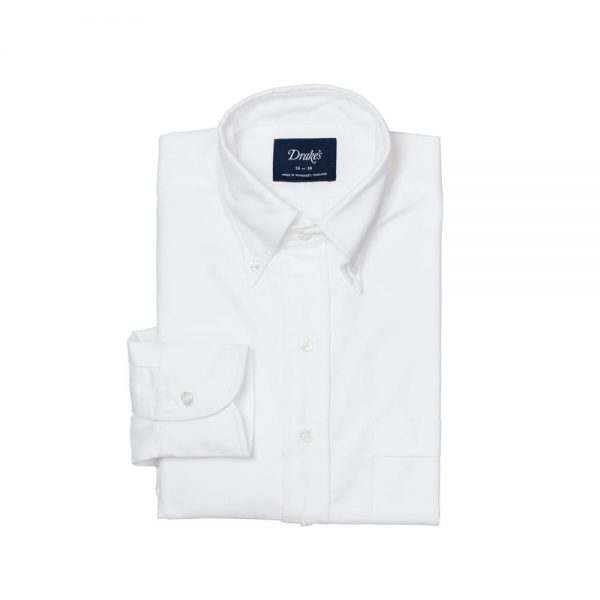 Drakes White Oxford BD Shirt