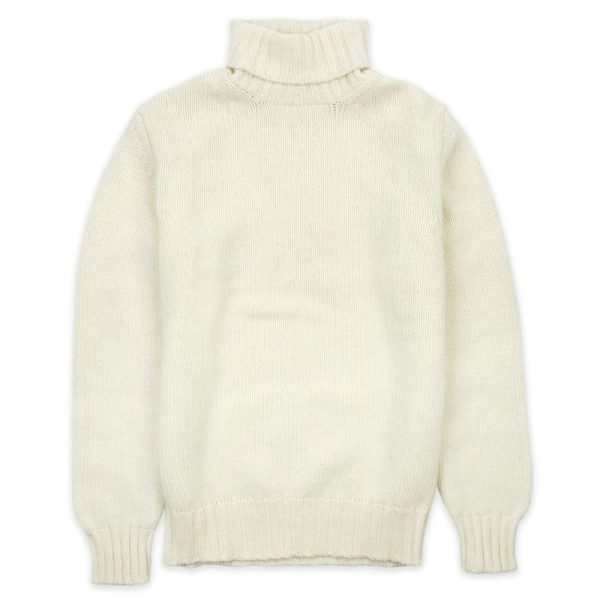 Drakes Roll Neck Sweater Ecru