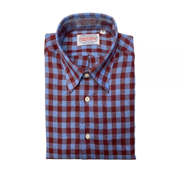Gitman Long Sleeve Linen Shirt Red Blue Check