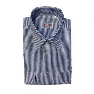 Gitman Cotton Linen Western Shirt Blue Candy Stripe