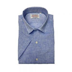 Gitman Short Sleeve Linen Camp Shirt Blue