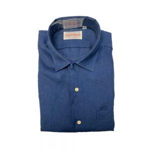 Gitman Long Sleeve Linen Camp Shirt Navy