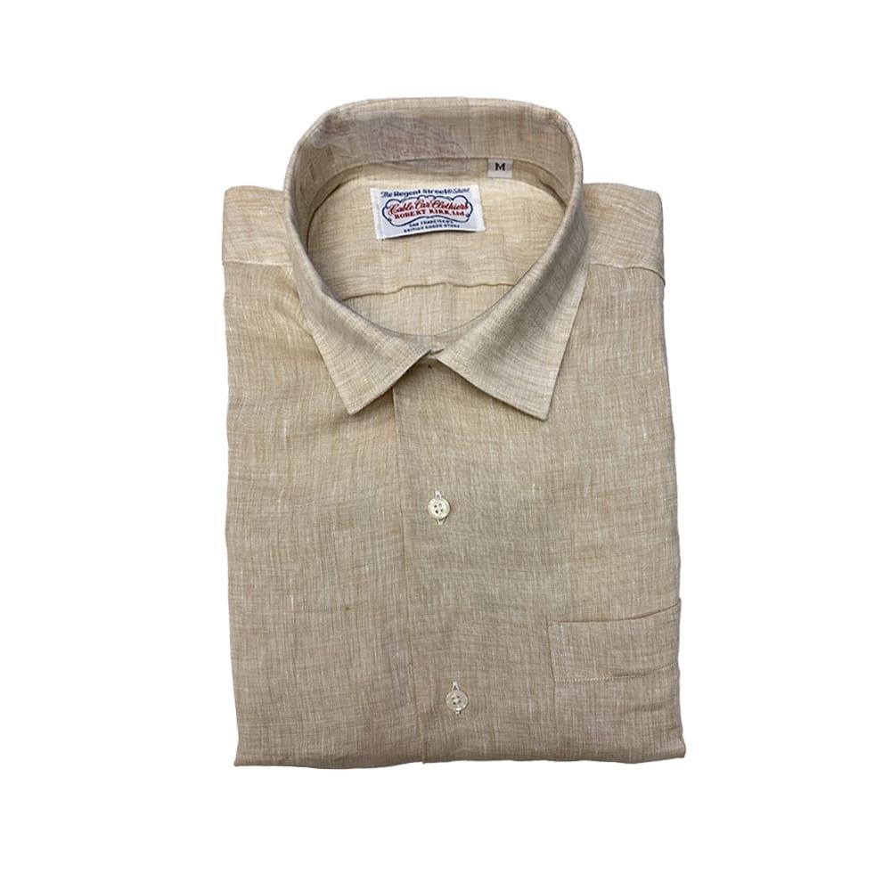 Gitman Long Sleeve Linen Camp Shirt Tan