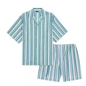 Bonsoir Regatta Pajama Short Set Green