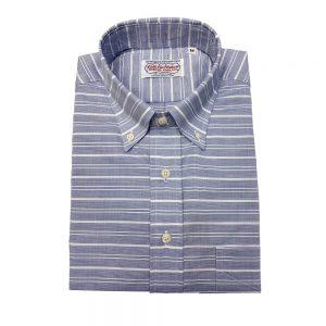 Gitman Popover Shirt Blue Horizontal Stripe