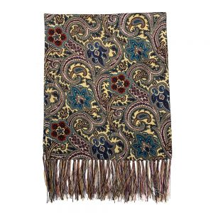 Silk Scarf Yellow Paisley