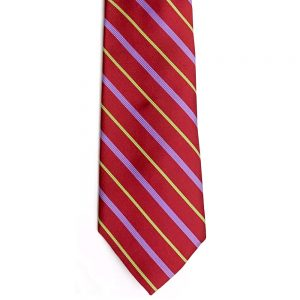 Neck Tie Bright Regimental Stripe Red