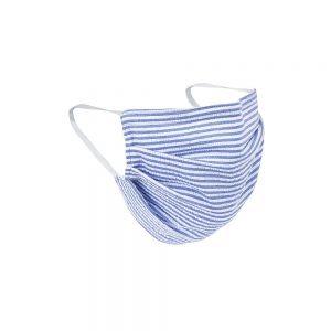 Safety Masks Blue_White Seersucker