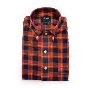 shirts Drakes Red_Blue Plaid Linen