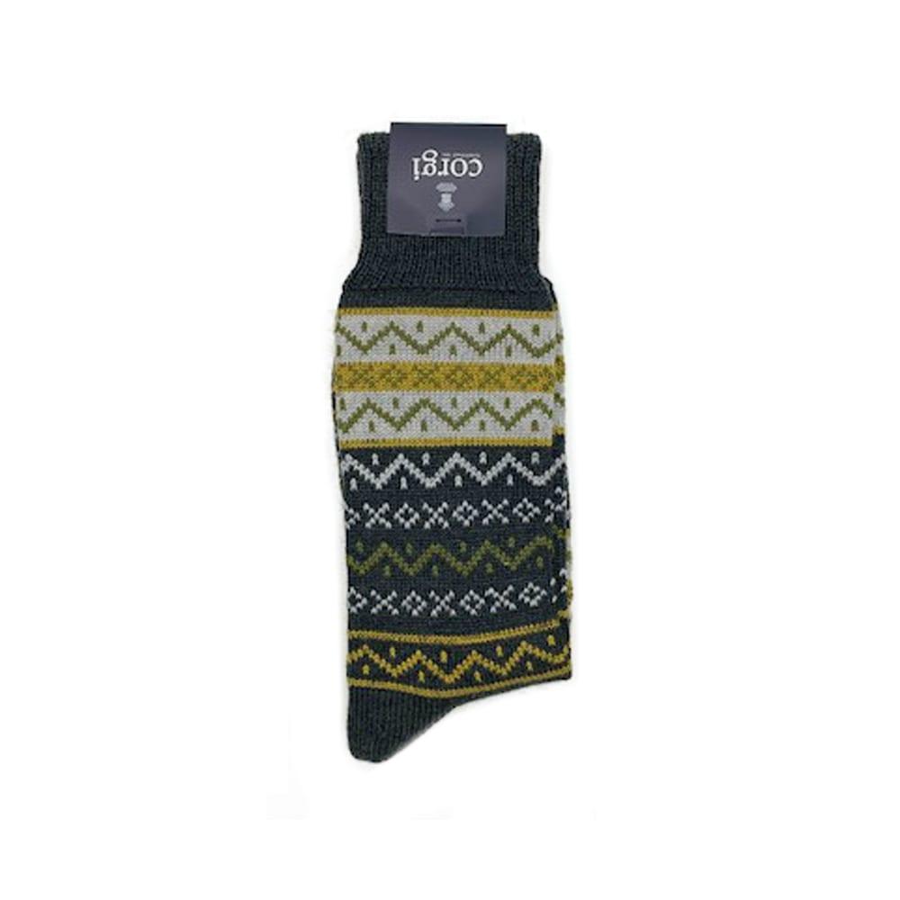 Corgi Socks Fairisle Charcoal