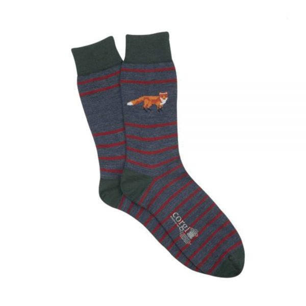 Corgi Socks Fox and Stripe