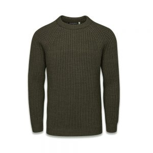 Gloverall Fisherman Ribbed Sweater Army Green