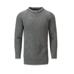 Gloverall Fisherman Ribbed Sweater Grey